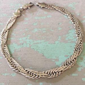 Jewelry - Sterling silver flat braid bracelet vintage Italy